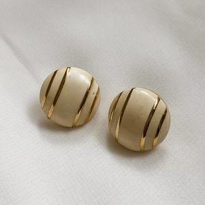 VTG Cream Gold Striped Round Stud Earrings